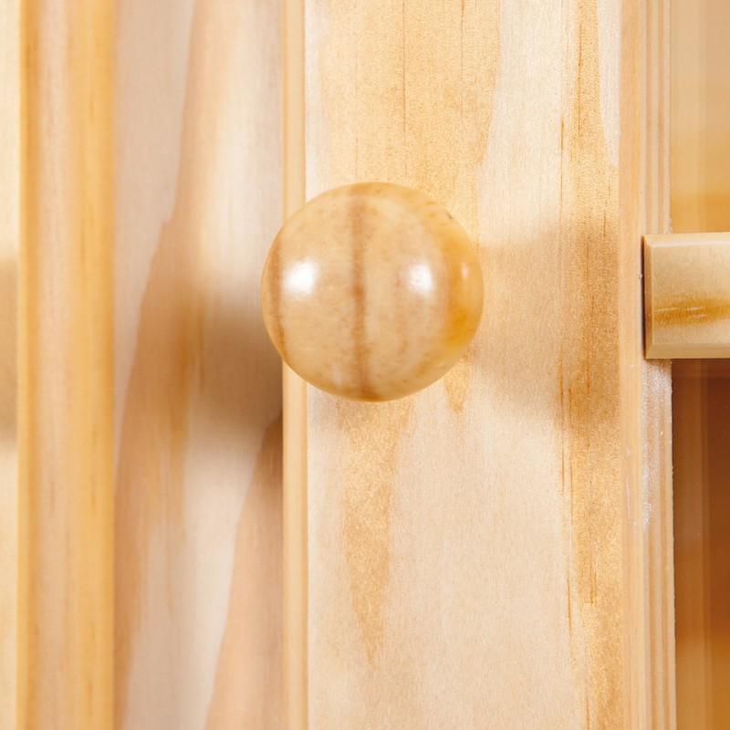 credenza con vetrina in legno massello di pino