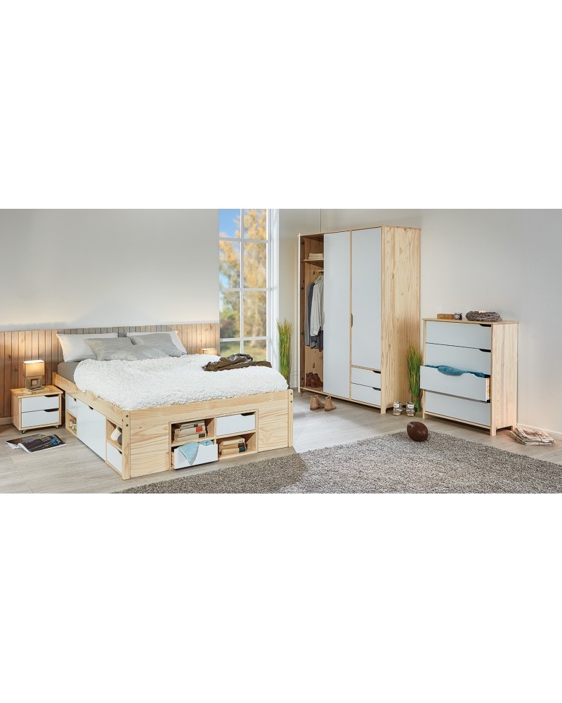 tavolo bianco e gambe legno