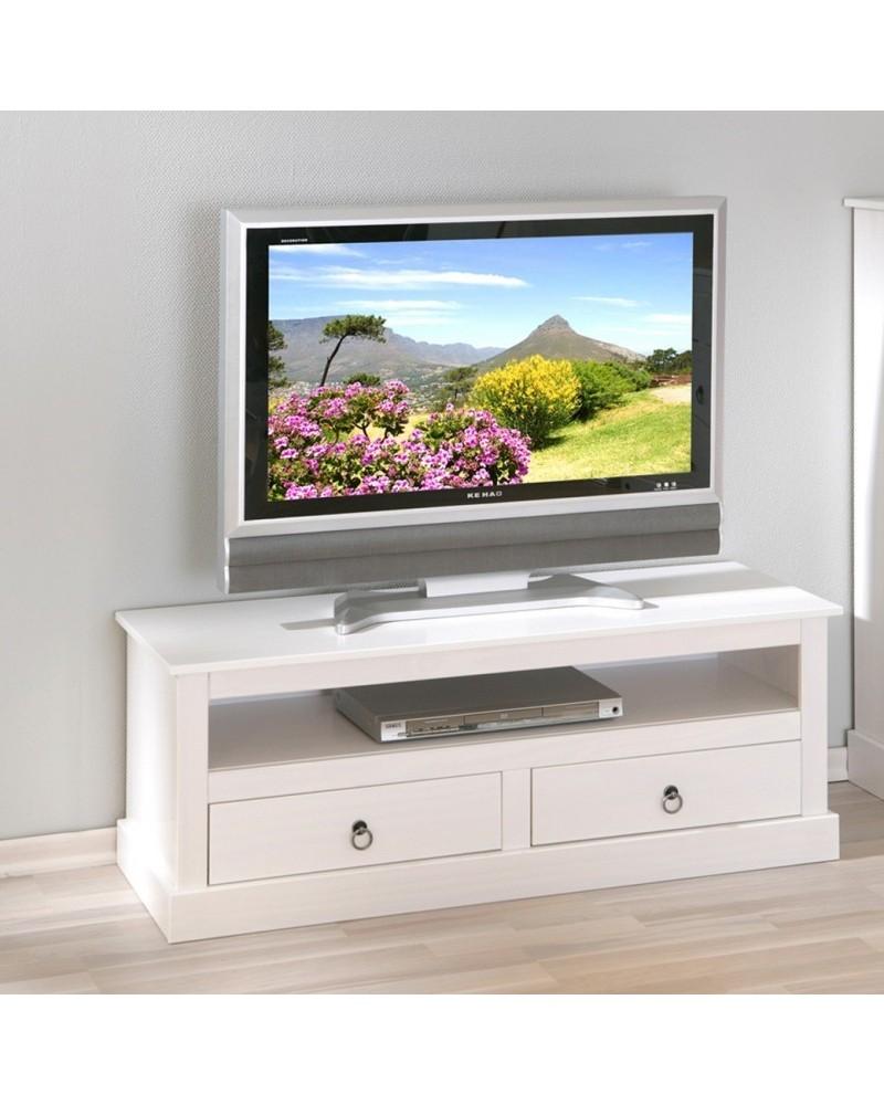 Mobile Porta TV Lavanda in legno bianco in stile provenzale con cassetti
