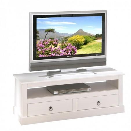 Mobile Porta TV Lavanda in legno bianco shabby chic con cassetti