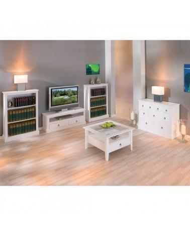 zona giorno con mobile porta TV bianco in stile provenzale moderno