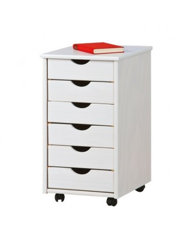 Cassettiera con ruote e 6 cassetti bianca in legno
