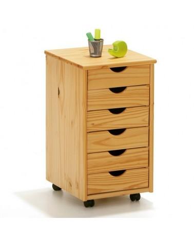 Cassettiera con ruote e 6 cassetti in legno naturale
