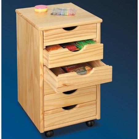 Cassettiera in legno naturale con 6 cassetti e ruote