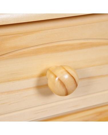 Dettaglio maniglia a pomello credenza con vetrina provenzale XL in legno naturale