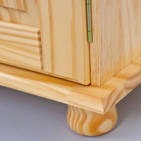 Dettaglio piedino della credenza con vetrina provenzale XL in legno naturale