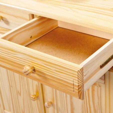 Dettaglio cassetto aperto credenza con vetrina provenzale XL in legno naturale