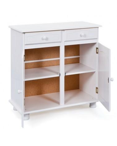 interno credenza bianca in legno Provenzale con 2 ante e 2 cassetti