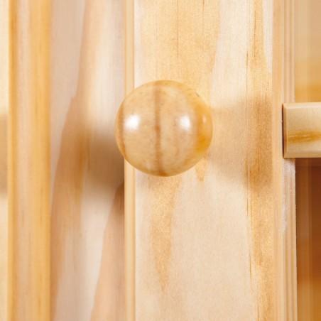 Credenza con vetrina provenzale in legno naturale - dettaglio maniglia a pomello dell'anta vetrina