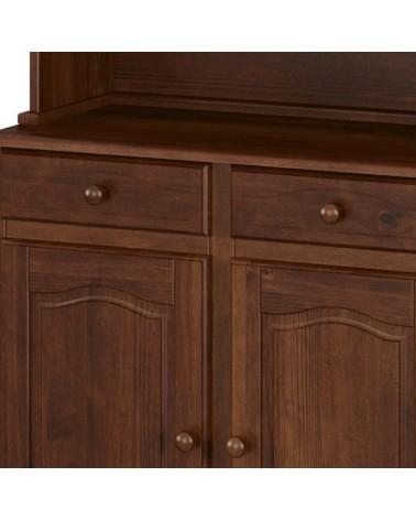 Dettaglio ante e cassetti della vetrina provenzale in legno - finitura noce