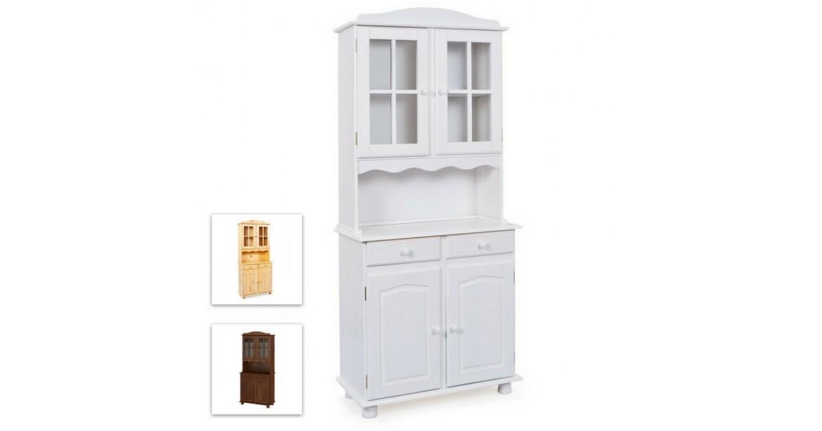 Credenza con vetrina provenzale bianca, 2 ante, 2 cassetti e 2 ante vetrina, cornice leggermente lavorata
