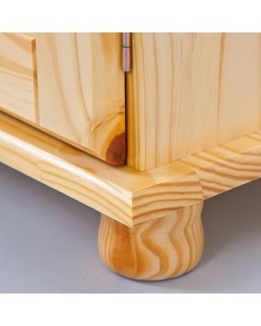 dettaglio piedino stilizzato credenza in legno naturale Provenzale 2 ante
