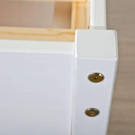 Letto Contenitore Matrimoniale Slide Bianco  solido in legno massello