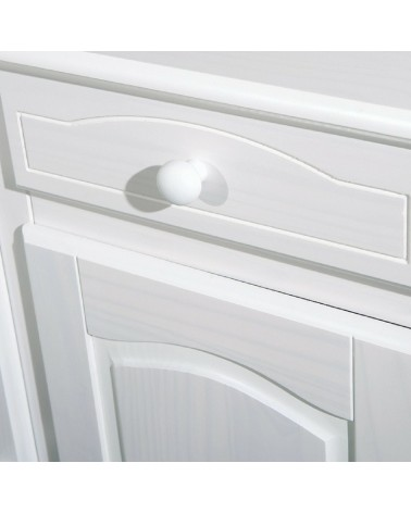 dettaglio modanature cassetto e anta credenza bianca in legno Provenzale 2 ante