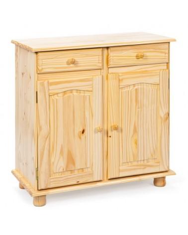 credenza in legno naturale Provenzale con 2 ante e 2 cassetti