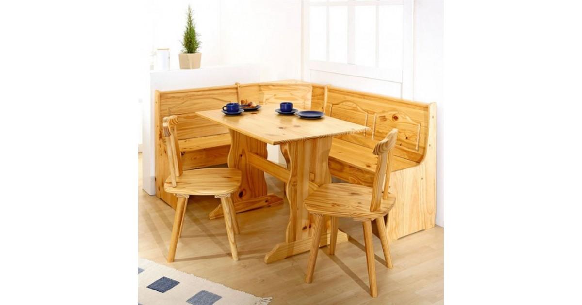 Set stile rustico Holiday in legno naturale: una panca, un tavolo, 2 sedie
