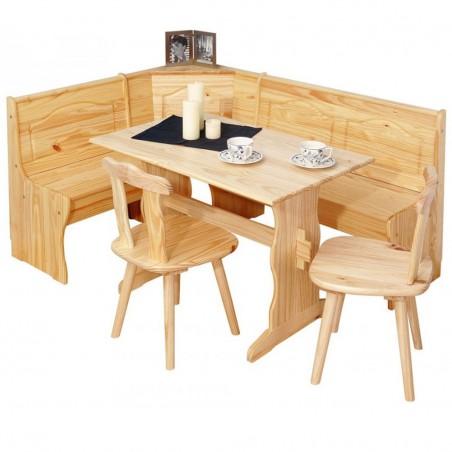 Set rustico Holiday in legno bianco: una panca, un tavolo, 2 sedie