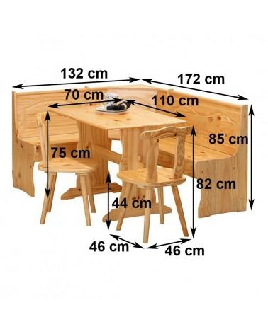 misure set holiday: tavolo, cassapanca e sedie in legno naturale