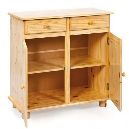 interno credenza in legno naturale Provenzale con 2 ante e 2 cassetti