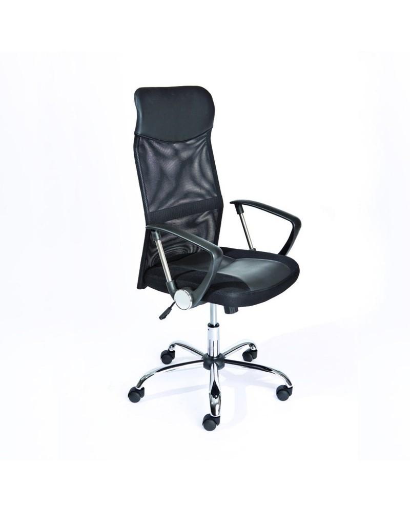 Poltrona da Ufficio Firenze ergonomica imbottita e regolabile con braccioli in pelle sintetica nera