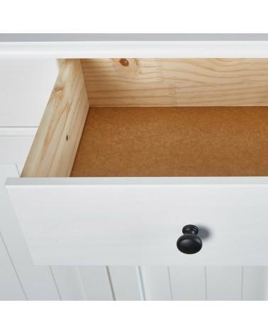 Dettaglio spazio casetto Credenza Hakon Bianco due ante e 2 cassetti