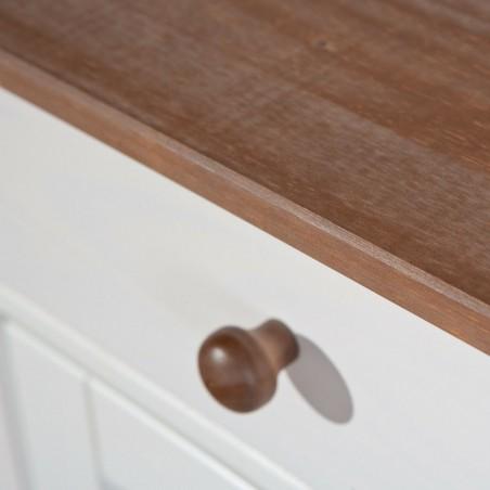 Dettaglio legno Credenza Hakon Bianco/Noce due ante