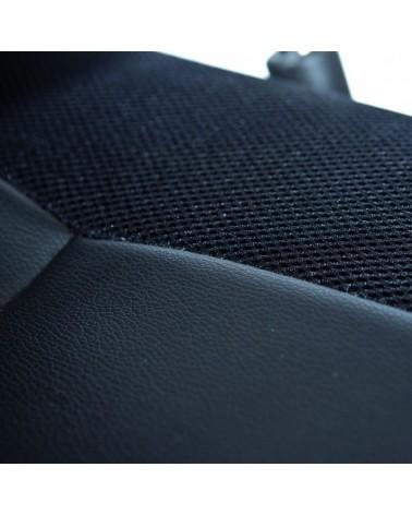 dettaglio seduta imbottita Poltrona da Ufficio Firenze ergonomica con braccioli in pelle sintetica nera