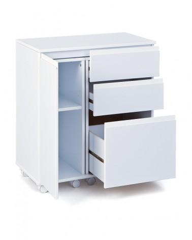 Scrivania multifunzione UP Bianco laccato chiusa con anta e cassetti