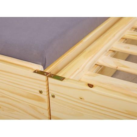 Dettaglio apertura Divano Letto Estraibile Triplo in legno massello naturale
