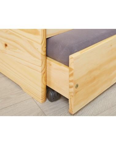Dettaglio apertura cassetto con rotelle Divano Letto Estraibile Triplo in legno massello naturale