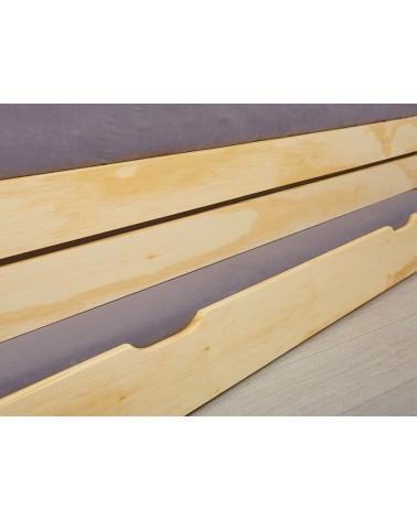 Dettaglio cassetto estraibile Divano Letto Estraibile Triplo in legno massello naturale