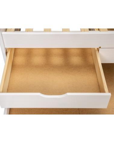 cassetto aperto Divano Letto Estraibile Double Bianco in legno