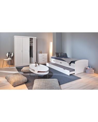 camera con Divano Letto Estraibile Double Bianco in legno 2 letti