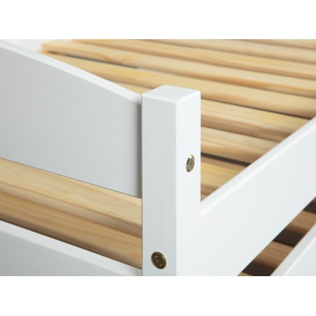 Letto Estraibile Level Bianco con doghe in legno