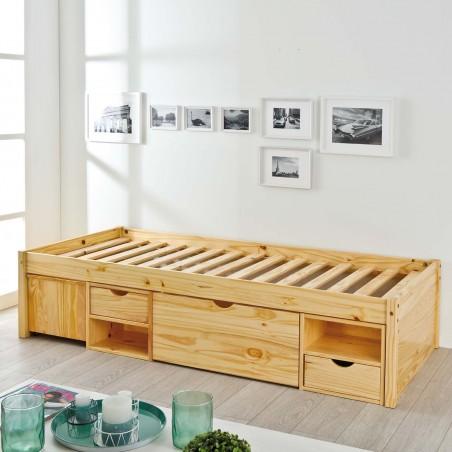Letto singolo con cassetti e comodino estraibile in legno massello naturale