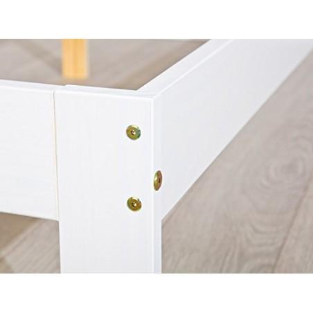 Letto singolo Lory in legno massello bianco 4