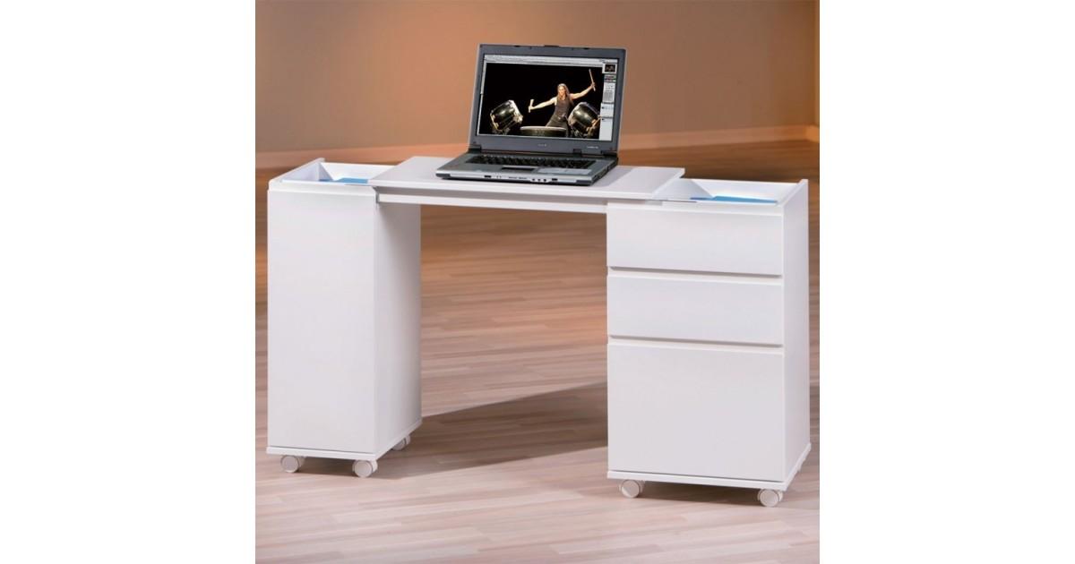 Scrivania multifunzione UP trasformabile in laminato Bianco con un'anta, 2 cassetti e 1 cassettone