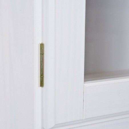 Dettaglio cerniera anta della vetrina Provenzale bianca in legno