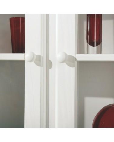 Credenza con vetrina provenzale bianca in legno - dettaglio maniglia a pomello dell'anta vetrina