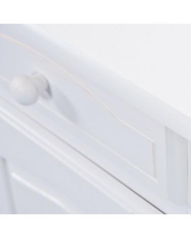 Credenza con vetrina provenzale bianca in legno - dettaglio maniglia a pomello del cassetto