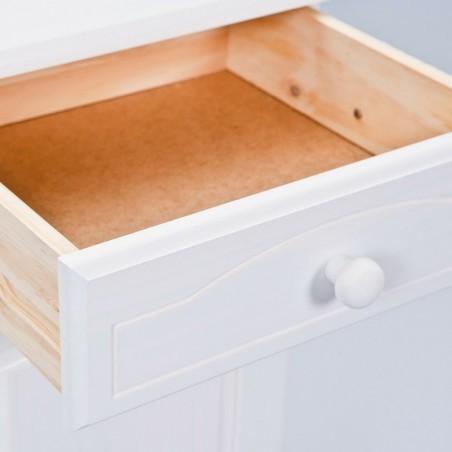 dettaglio cassetto aperto della vetrina provenzale bianca in legno