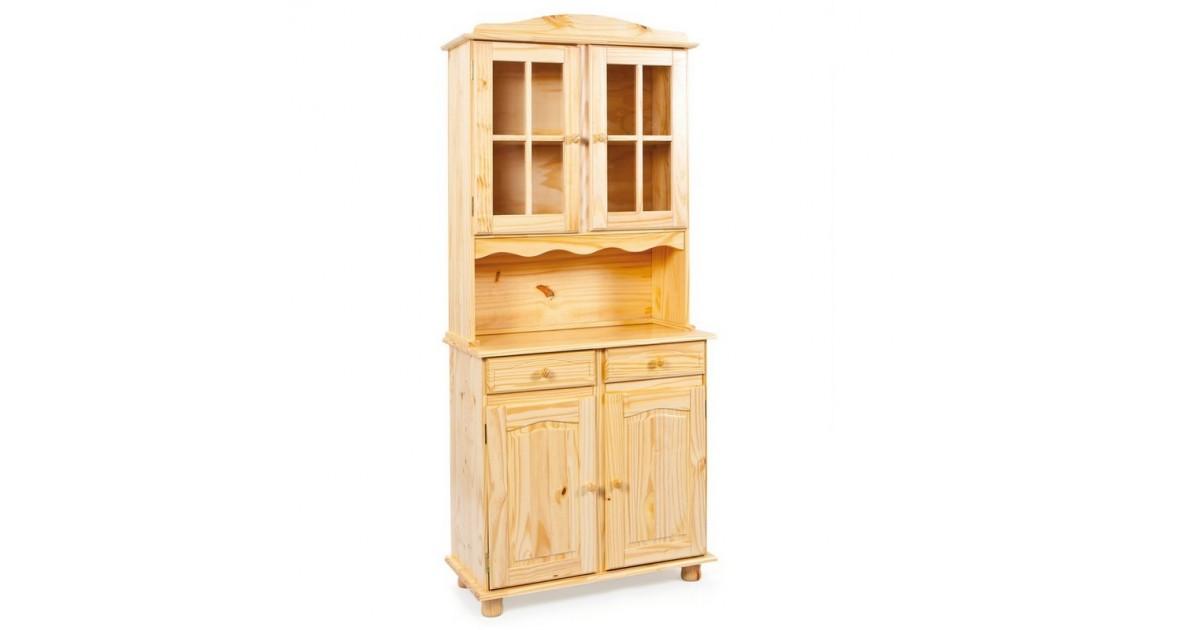 Credenza con vetrina provenzale legno chiaro, 2 ante, 2 cassetti e 2 ante vetrina, cornice leggermente lavorata