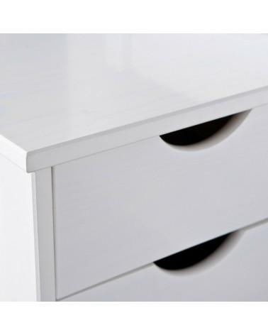 dettaglio maniglie dei cassetti del letto Contenitore singolo Slide in Legno Massello Bianco