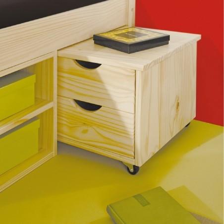 Dettaglio comodino estraibile nel letto contenitore singolo in legno naturale Slide
