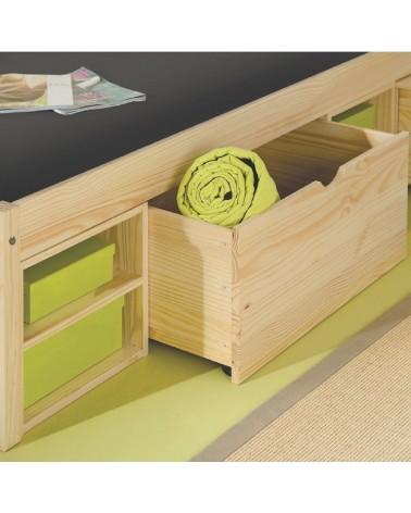 Dettaglio cassetto nel letto contenitore singolo in legno naturale Slide