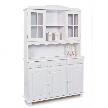 Credenza bianca provenzale e shabby chic in legno con vetrine per cucina e sala da pranzo