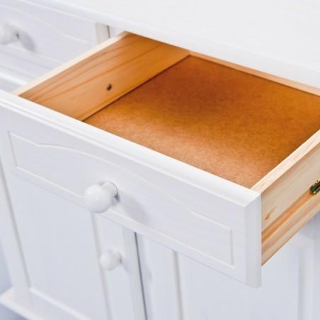 Dettaglio cassetto aperto credenza con vetrina provenzale in legno bianca versione XL