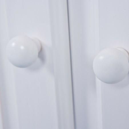 Dettaglio maniglia a pomello dell'anta della credenza con vetrina provenzale XL in legno massello bianca