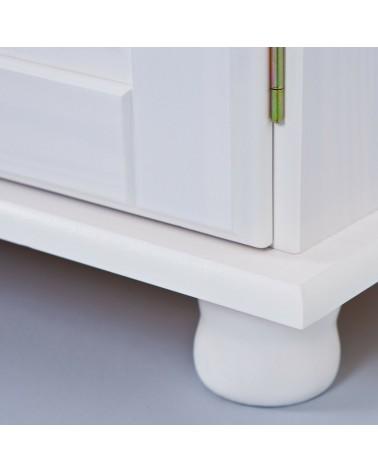 Dettaglio piedino della credenza con vetrina provenzale XL in legno massello bianca