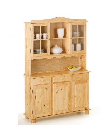 Credenza con vetrine provenzale XL in legno naturale con 3 ante,3 cassetti, 2 ante vetrina e vani a giorno